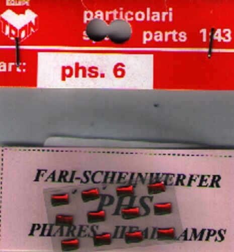 Accessori 1//43 FARI ROSSI RETTANGOLARI 4 x 2mm  TRON   PHS6R