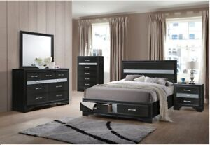 Details about Bed Dresser Mirror Nightstand Est King Size Contemporary  Bedroom Furniture Black