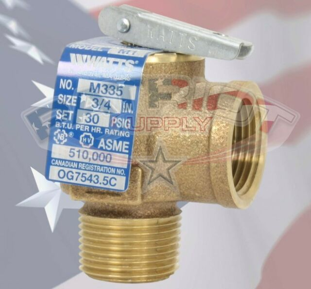 3//4 335 M2-030 Watts 0342691 30 PSI Pressure Relief Valve Bronze