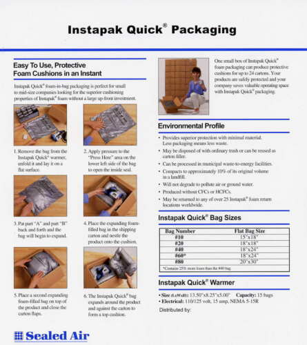 "Instapak Quick Bags #60-150 Bags 18 x 24/"""
