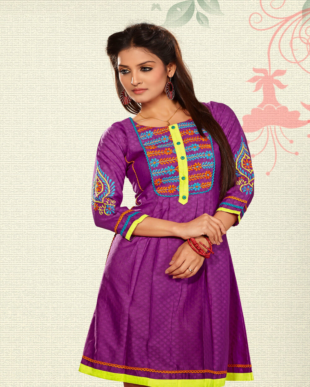 Kurti New Trendy Look purple color Kurtis with Embroidery 100% Cotton