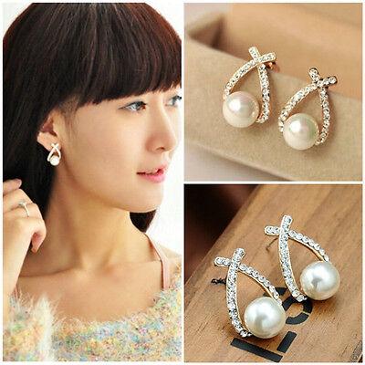 Fashion Women Lady Elegant Pearl Crystal Rhinestone Ear Stud Earrings Party