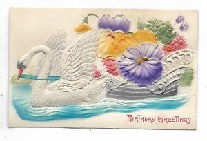 Embossed-Bas-Relief-BIRTHDAY-GREETINGS-Postcard-showing-Water-Fowl-Flowers
