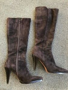 Antonio-Melani-Brown-Suede-Boots-Womens-Size-7-Medium-Knee-High-Leather-MINT