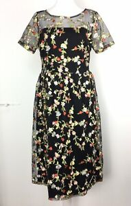 Liquorish-Midi-Dress-Size-10-Black-Net-Floral-Embroidered-Overlay-Cocktail-Party