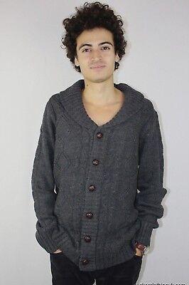 Bescheiden Vintage Mens Aztec Arran Cardigans Cable Knitted Chestnut Button Slim Fit P72