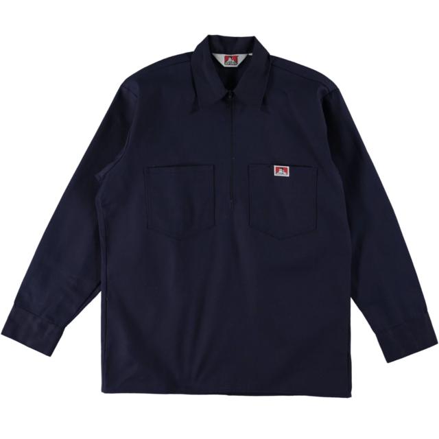 Workwear since 1935 Original Ben Davis Half Zip Manche Shirt réparti Navy