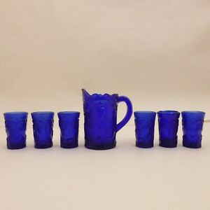 7pc-RARE-Cobalt-Blue-Glass-INVERTED-PEACOCK-Child-Mini-PITCHER-Summit-SET