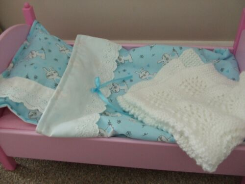 Trapunta cuscino /& Knit Coperta Baby Annabel RANGER carrozzina Bambole carrozzina set di biancheria da letto