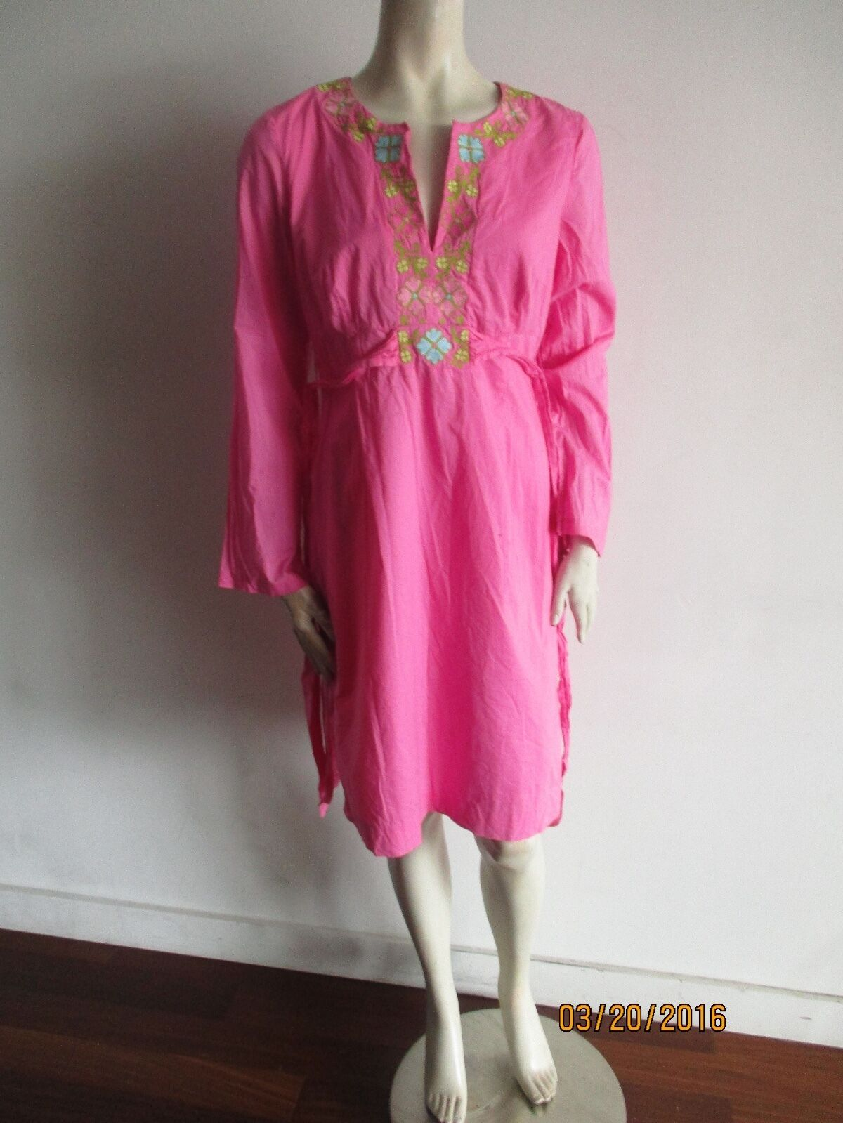 LILLY PULITZER CAFTAN DRESS SIZE 8 8 8 PINK  BELTED, LINED,100% COTTON ad5eaf