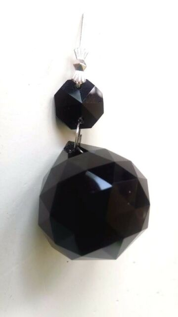 1 Black Faceted Crystal Ball 30mm Ornament Chandelier ...