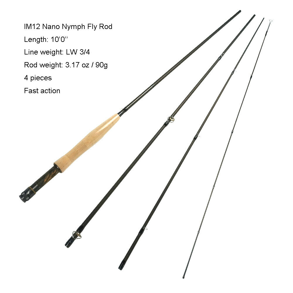 Aventik IM12 Nano Nymph Fly asta 34wt 10ft 4SEC Light Weight 90g with Extra Tip