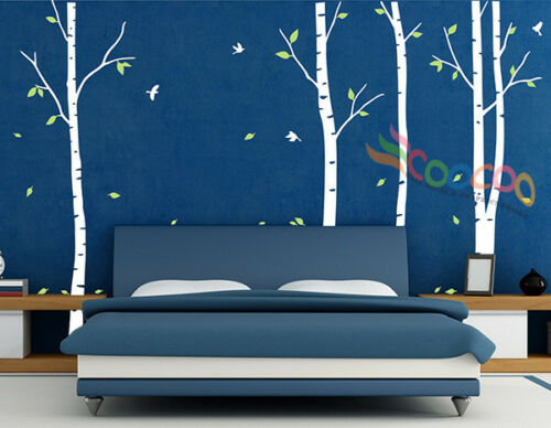 """Wall Decor Decal Sticker Removable 96/""""  birch bird tree 2 colors DC0202"""