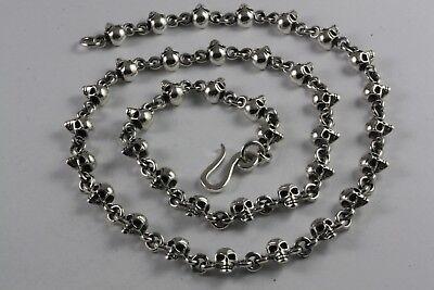 Massive Totenkopf Kette 60 Cm Lang Biker Skull Halskette Echt Silber / 360 Erfrischend Und Wohltuend FüR Die Augen