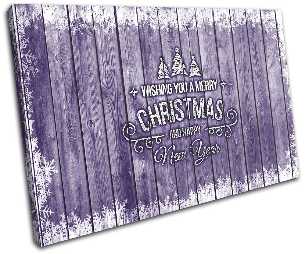 Christmas Decoration Wall Canvas ART Print XMAS Picture Gift Wood 03 violet Chri