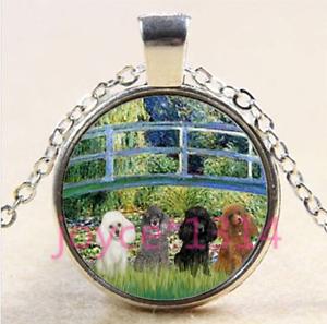 Vintage Poodle Cabochon Tibetan silver Glass Chain Pendant Necklace #4352