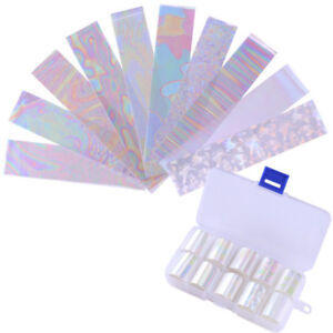 10Pcs-Holographic-Nail-Foil-Transparent-Nail-Art-Starry-Foils-Transfer-Stickers