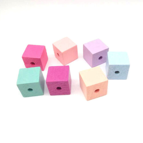 50Pcs Square Wood Spacer Beads Cube Paint Wooden Bead DIY Baby Jewelry Making