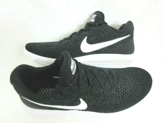 68db5e495637c Nike Mens Lunarepic Low Flyknit 2 Running Shoes Black White Anthracite 11.5  New