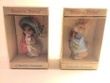 Beatrix Potter Peter Rabbit Benjamin Bunny Miniature Christmas Ornaments NIB Set