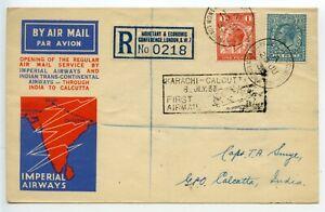GREAT-BRITAIN-1933-034-Smye-034-London-India-airmail-MONETARY-amp-ECONOMIC-CONFERENCE