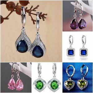 Fashion-Women-039-s-Jewelry-Silver-Sapphire-Dangle-Wedding-Hoop-Heart-Earrings-Gifts