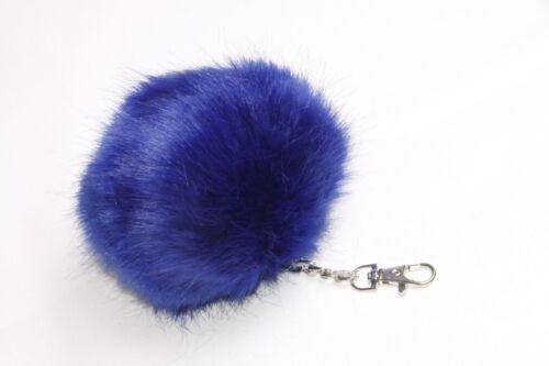 s148 Bright Blu Elettrico Extra Large soffice pom pom Portachiavi Catena D/'Argento W