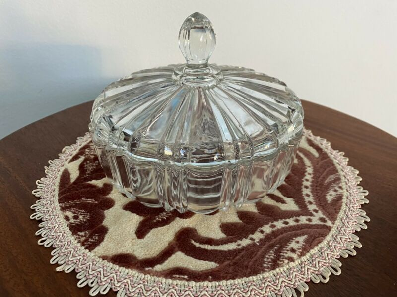 Ornate glass bowl with matching glass lid