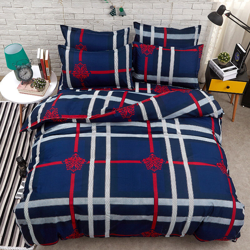 Red and White Plaid Print bluee Duvet Covers Set 3Pcs Geometric Beddings