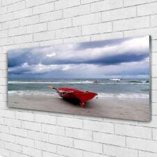 Tulup Acrylglasbilder Wandbilder Dekobild 125x50 Boot See Felsen Landschaft