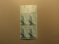 USPS Scott 1258 5c Verrazano-Narrows Bridge Mint NH 1964 Plate Block 5 Stamps