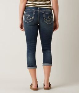 b24ac99f74816 Image is loading Womens-Silver-Jeans-Maternity-Capris-Suki-Cropped-Stretch-