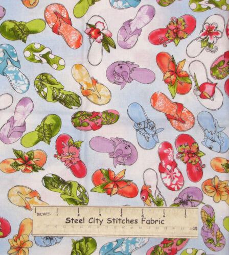 Loralie Beach Flip Flop Fabric ~ 100/% Cotton By The Yard ~ Hu Lala Shoes Blue