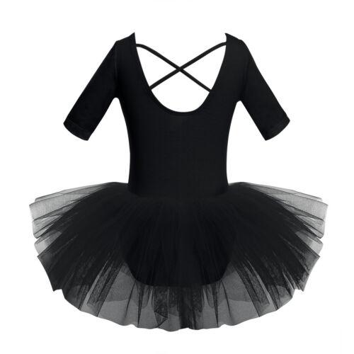 Mädchen Kurzarm Ballettkleid Tanzkleid Ballett Trikot Tütü Rock Tanzen Kleid
