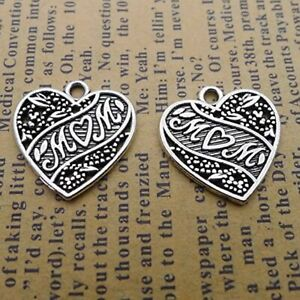 10 Heart Charms Word Charms Mom Pendants Inspirational Mothers Day Findings
