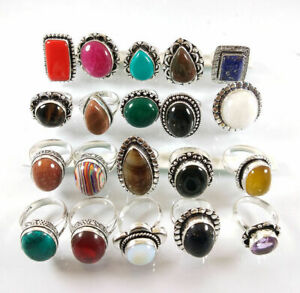 10 Pcs Ruby Turquoise Lapis Jasper Mix 925 Sterling Solid Silver Rings BR-30