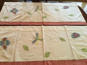 2 Pottery Barn Kids Valances White Bugs Dragonfly Red