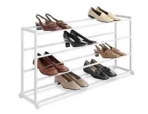 Image Is Loading Whitmor 20 Pair Floor Shoe Rack White Storage