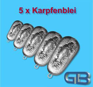 5-x-Angelblei-Grundblei-Karpfenblei-120g-140g-200g-Stroemungsblei-mit-Ose