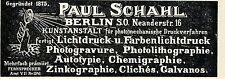 Paul Schahl Berlin PHOTOMECH. KUNSTDRUCKANSTALT Historische Reklame von 1896