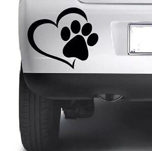 3x-Mascota-Paw-Print-Con-Corazon-Perro-Gato-Vinilo-Calcomania-Auto-Ventana-Pegatinas-De-Parachoques