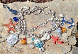 Under-The-Sea-Silver-Charm-Bracelet-Beach-Seahorse-Turtle-Starfish-Seashell