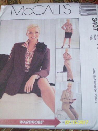 McCALL/'S #3407 LADIES BUSINESS SUIT-JACKET-PANTS-SHIRT /& SKIRT PATTERN 6-22 FF