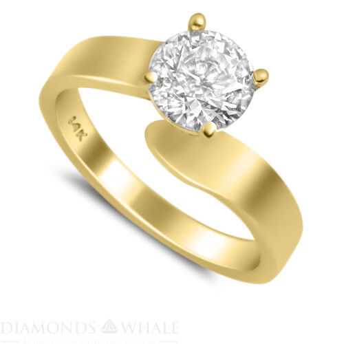 Solitaire 0.45 CT Enhanced Diamond Ring Yellow gold 18K SI2 D Round Cut Bridal