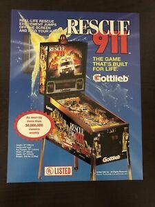 Rescue 911 Pinball Machine Flyer