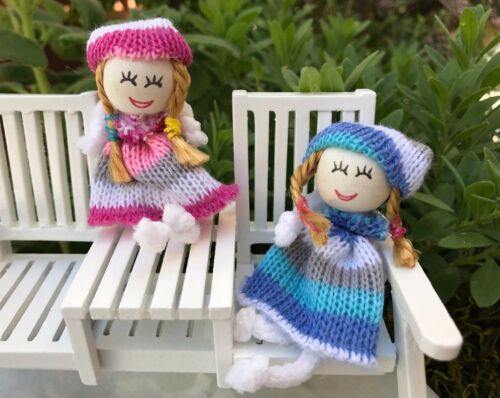 Miniature Dollhouse FAIRY GARDEN  Accessories ~ Large Blue /& Rose Rag Dolls NEW