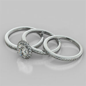 2.52 Ct Round Moissanite Engagement Trio Band Set 18K Solid White Gold Size 6 7