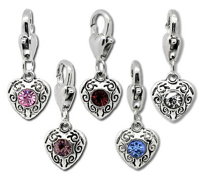 JP 10PCs Mixed Love Heart Clip On Charms Fit Chain Bracelet