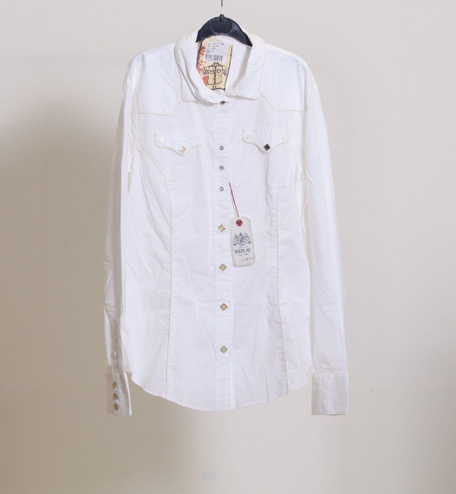 REPLAY donna ESCLUSIVO fashion manica lunga elegante camicia camicia camicia bianca cotone pulsante daf660