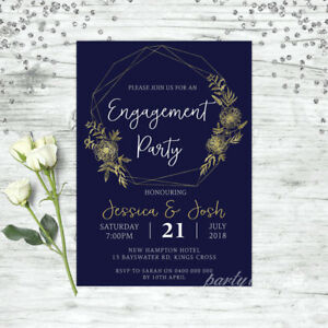 ENGAGEMENT-INVITATION-NAVY-amp-GOLD-FLORAL-WEDDING-INVITE-PARTY-SUPPLIES-INVITE